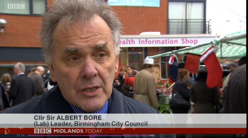Sir Albert Bore, leader of Birmingham City Council, speaking on BBC Midlands Today